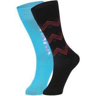 DUKK Men's Turquoise  Black Glean Length Cotton Lycra Socks (Pack of 2)