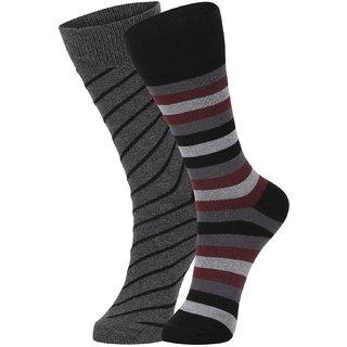 DUKK Men's Grey  Maroon Glean Length Cotton Lycra Socks (Pack of 2)