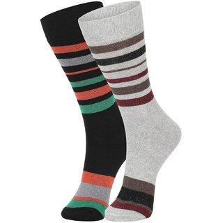 DUKK Men's Green  Grey Glean Length Cotton Lycra Socks (Pack of 2)