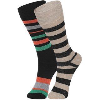 DUKK Men's Green  Beige Glean Length Cotton Lycra Socks (Pack of 2)