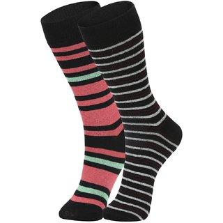 DUKK Men's Red  Black Glean Length Cotton Lycra Socks (Pack of 2)