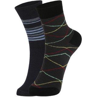 DUKK Men's Multicolour Ankle Length Cotton Lycra Socks (Pack of 2)