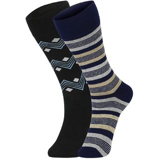DUKK Men's Black  Navy Blue Glean Length Cotton Lycra Socks (Pack of 2)
