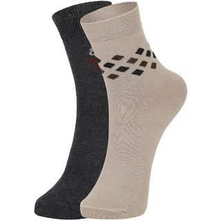DUKK Men's Grey  Beige Ankle Length Cotton Lycra Socks (Pack of 2)