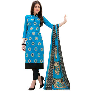 Mahiyar Latest Blue and Black Embroidered Dress Material with Dupatta