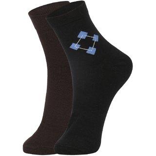 DUKK Men's Brown  Black Ankle Length Cotton Lycra Socks (Pack of 2)