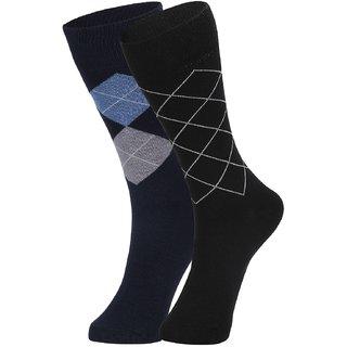 DUKK Men's Navy Blue  Black Glean Length Cotton Lycra Socks (Pack of 2)