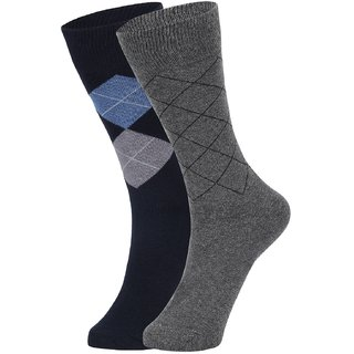 DUKK Men's Navy Blue  Grey Glean Length Cotton Lycra Socks (Pack of 2)