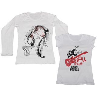 IndiWeaves Women Combo Pack Offer 1 Full Sleeves and 1 Half Sleeves Printed T-Shirt (Set of -2)
