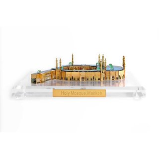 Crystal 24 Karat Gold Plated Holy Mosque, Makkah Home Decorative Souvenir Gift