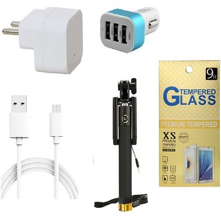 13Tech 1.0 Amp USB Charger+3 mtr Copper (Data Transfer+Charging) Cable  +3 Jack Car Charger+Sefie Stick Aux+Tempered Glass for Gionee Marathon M5 Lite