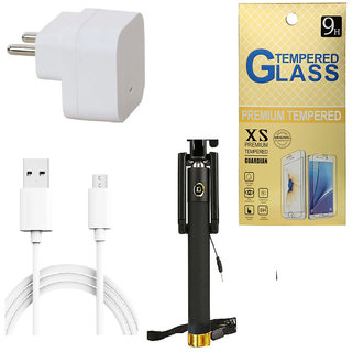 13Tech 1.0 Amp USB Charger+3 mtr Copper (Data Transfer+Charging) Cable +Sefie Stick Aux+Tempered Glass for Motorola E