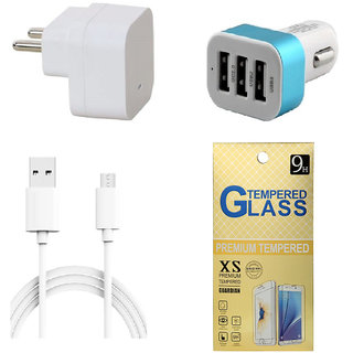13Tech 1.0 Amp USB Charger+3 mtr Copper (Data Transfer+Charging) Cable  +3 Jack Car Charger+Tempered Glass for Motorola E