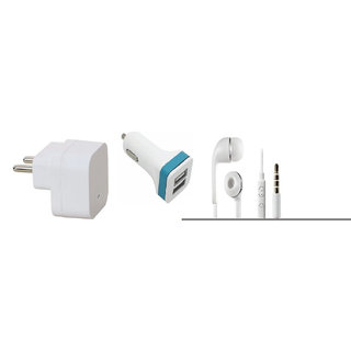 13Tech 1.0 Amp USB Charger+3 mtr Copper (Data Transfer+Charging) Cable +Universal Handsfree 3.5 mm Jack Headphones+2 Jack Car Charger+Sefie Stick Aux+Tempered Glass for Motorola E