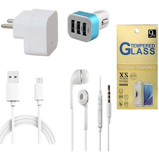 13Tech 1.0 Amp USB Charger+3 mtr Copper (Data Transfer+Charging) Cable +Universal Handsfree 3.5 mm Jack Headphones+3 Jack Car Charger+Tempered Glass for HTC Desire 820