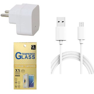 13Tech 1.0 Amp USB Charger+1.5 mtr Copper (Data Transfer+Charging) Cable+Tempered Glass for Lava Iris X5
