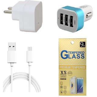 13Tech 1.0 Amp USB Charger+1.5 mtr Copper (Data Transfer+Charging) Cable +3 Jack Car Charger+Tempered Glass for Samsung Galaxy Z1