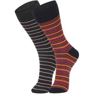 DUKK Men's Grey  Orange Glean Length Cotton Lycra Socks (Pack of 2)