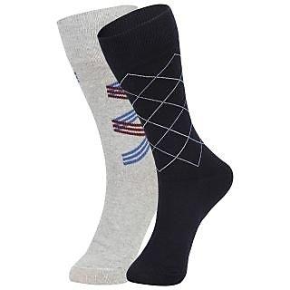 DUKK Men's Grey  Navy Blue Glean Length Cotton Lycra Socks (Pack of 2)