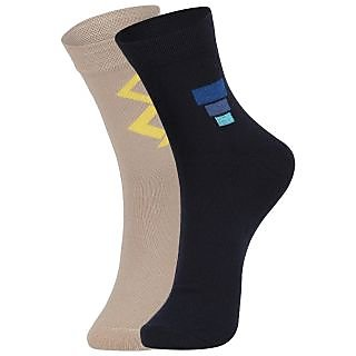 DUKK Men's Beige  Navy Blue Ankle Length Cotton Lycra Socks (Pack of 2)