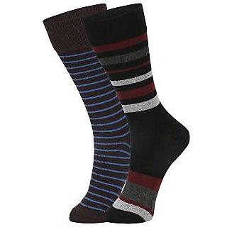 DUKK Men's Brown  Black Glean Length Cotton Lycra Socks (Pack of 2)
