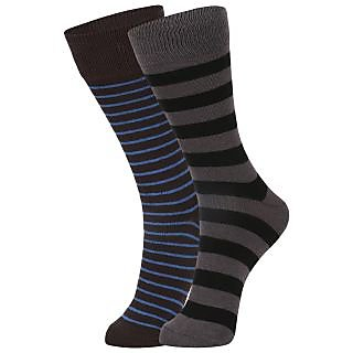 DUKK Men's Brown  Black Glean Length Cotton Lycra Socks (Pack of 2)