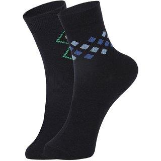DUKK Men's Navy Blue  Blue Ankle Length Cotton Lycra Socks (Pack of 2)