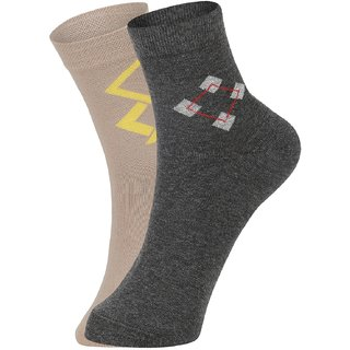 DUKK Men's Beige  Grey Ankle Length Cotton Lycra Socks (Pack of 2)