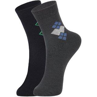 DUKK Men's Navy Blue  Grey Ankle Length Cotton Lycra Socks (Pack of 2)