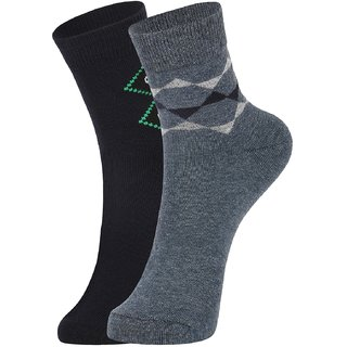 DUKK Men's Navy Blue Ankle Length Cotton Lycra Socks (Pack of 2)