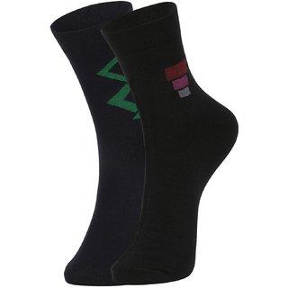 DUKK Men's Black Ankle Length Cotton Lycra Socks (Pack of 2)
