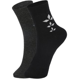DUKK Men's Grey  Black Ankle Length Cotton Lycra Socks (Pack of 2)