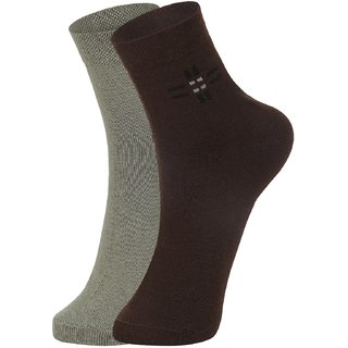 DUKK Men's Green  Brown Ankle Length Cotton Lycra Socks (Pack of 2)