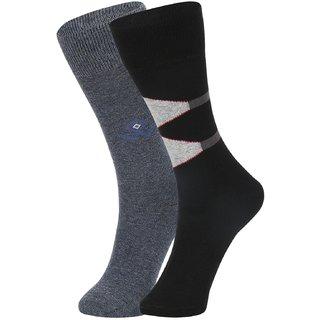 DUKK Men's Grey  Black Glean Length Cotton Lycra Socks (Pack of 2)