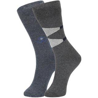 DUKK Men's Grey Glean Length Cotton Lycra Socks (Pack of 2)