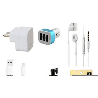 13Tech 1.0 Amp USB Charger+1.5 mtr Copper (Data Transfer+Charging) Cable+Universal Handsfree 3.5 mm Jack Headphones+3 Jack Car Charger+Sefie Stick Aux+Tempered Glass for OnePlus 1