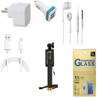 13Tech 1.0 Amp USB Charger+3 mtr Copper (Data Transfer+Charging) Cable +Universal Handsfree 3.5 mm Jack Headphones+2 Jack Car Charger+Sefie Stick Aux+Tempered Glass for Samsung Galaxy S7