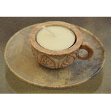 Carved Stone Cup And Saucer Tea Light Holder