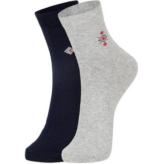 DUKK Men's Navy Blue  Grey Ankle Length Cotton Lycra Socks (Pack of 2)