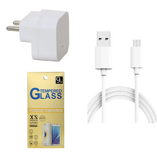 13Tech 1.0 Amp USB Charger+1.5 mtr Copper (Data Transfer+Charging) Cable+Tempered Glass for HTC Desire 820