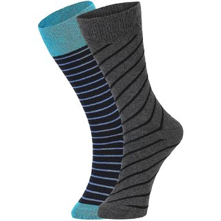 DUKK Men's Turquoise  Grey Glean Length Cotton Lycra Socks (Pack of 2)