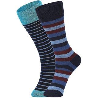 DUKK Men's Turquoise  Blue Glean Length Cotton Lycra Socks (Pack of 2)