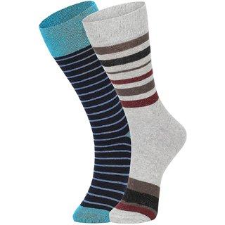 DUKK Men's Turquoise  Grey Glean Length Cotton Lycra Socks (Pack of 2)