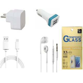 13Tech 1.0 Amp USB Charger+1.5 mtr Copper (Data Transfer+Charging) Cable+Universal Handsfree 3.5 mm Jack Headphones+2 Jack Car Charger+Tempered Glass for Samsung Galaxy E7