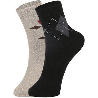 DUKK Men's Beige  Black Ankle Length Cotton Lycra Socks (Pack of 2)