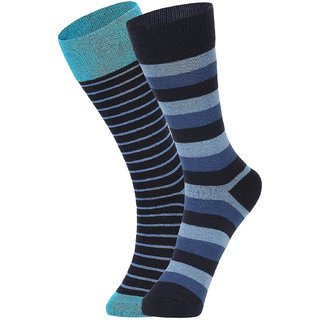 DUKK Men's Turquoise  Blue Glean Length Cotton Lycra Socks (Pack of 2)
