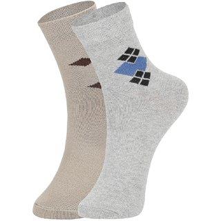 DUKK Men's Beige  Grey Ankle Length Cotton Lycra Socks (Pack of 2)