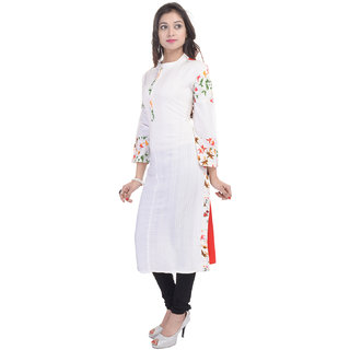 Themes Creations Red & White Floral Cotton & Rayon Straight Kurti