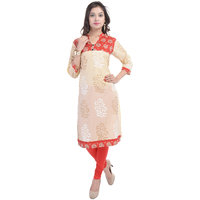 Themes Creations Beige & Red Printed Cotton Straight Kurti