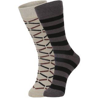 DUKK Men's Beige  Black Glean Length Cotton Lycra Socks (Pack of 2)